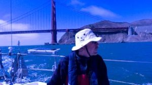 Into San Francisco Bay, heading to Sausalito. After the ocean it got hot fast in double layers of fleece.