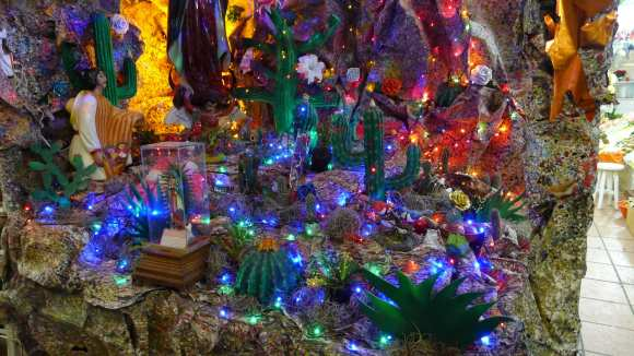 This was part of the same fanciful nativity scene. It was quite large, really more of a diorama. Very colorful and lots of lights.