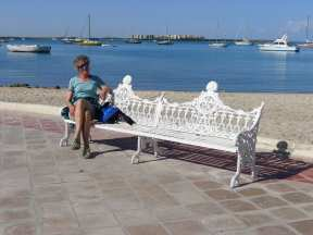 Beautiful wrought iron public benches, all painted white along the Malecon. These benches are found in almost all of the public squares and parks in La Paz.