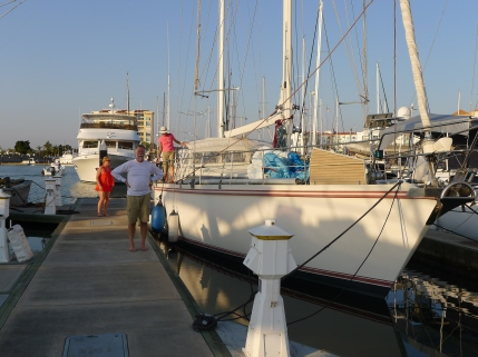 """Time's new-to-him boat: A well-built and sea-worthy Amel Super Marimu, """"Sea Fever."""" Tim's sister Carol flew down to keep him company the first week."""