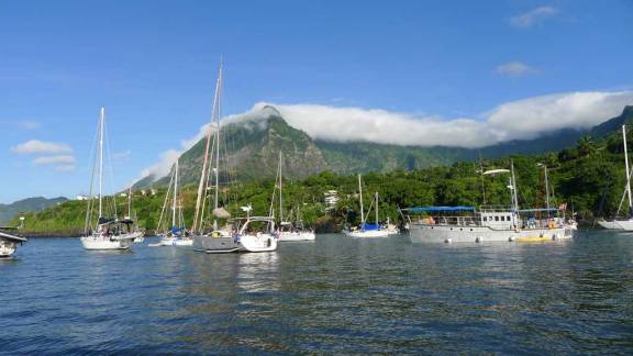 The harbor in Baie Tahauku at the town of Atuona on the island of Hiva Oa