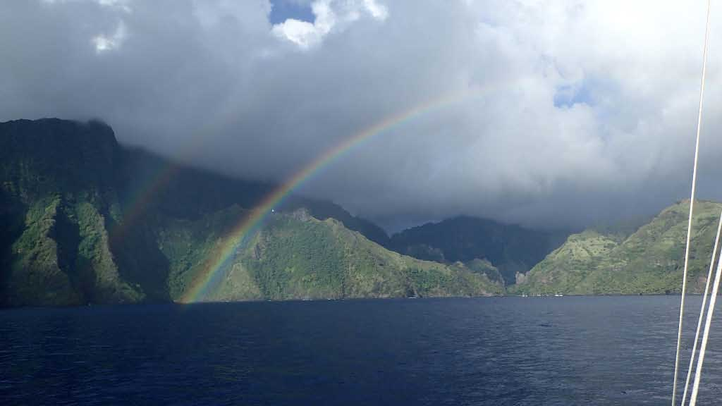 Double Rainbows grace Baie Hanavavei on the island of Fatu Hiva