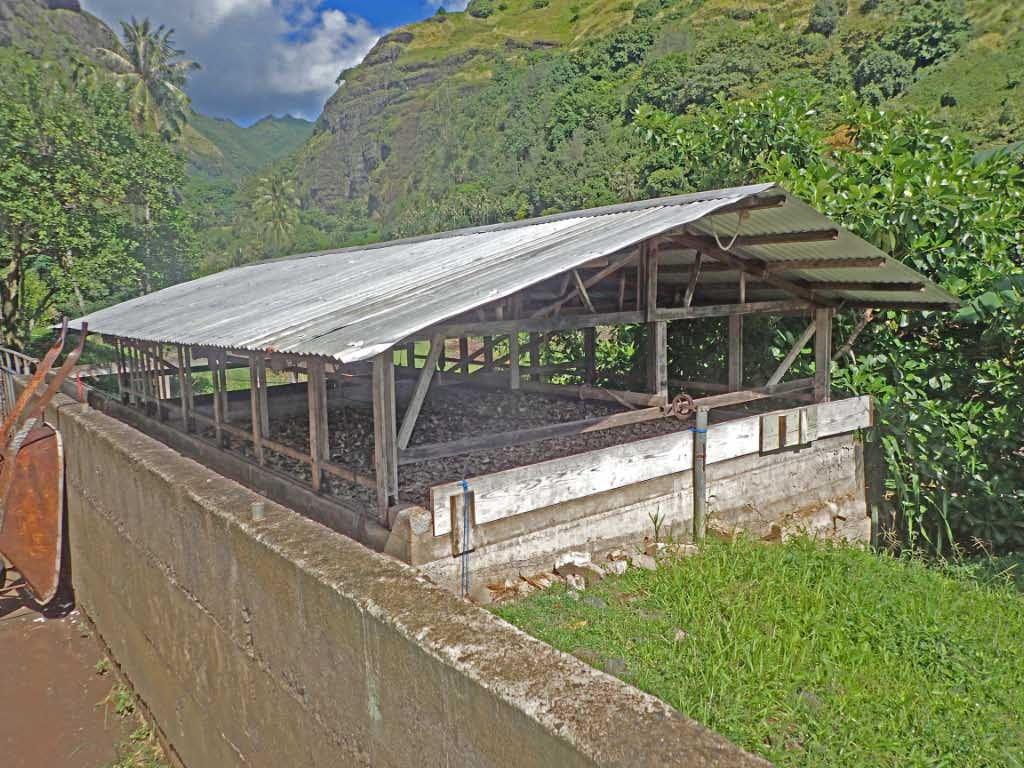 Copra drying shed