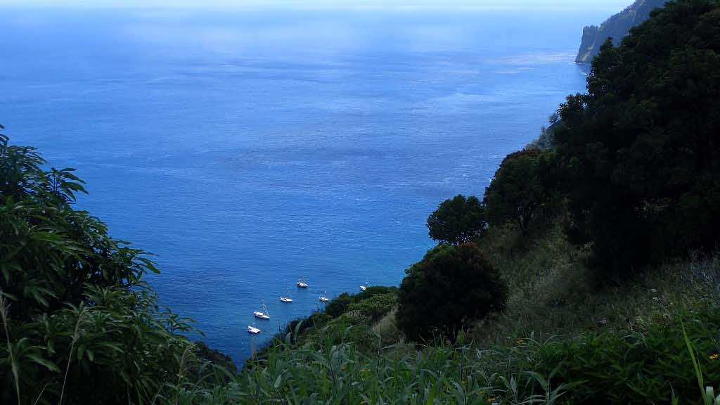 Looking down on outer anchorage at Fatu Hiva