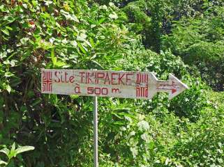 Road sign to the tiki site that Herman Melville wrote about.