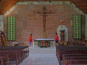 Inside the sanctuary. These ladies were cleaning the church and invited us in to see and take photos, if we wished.
