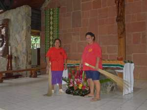 The ladies who welcomed us as they were cleaning and preparing the sanctuary