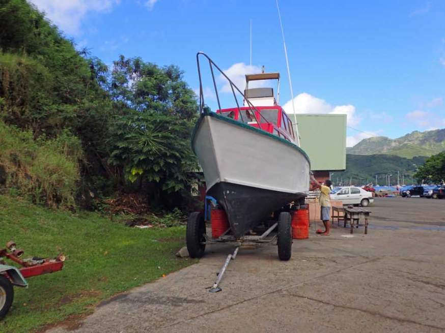 Boat needs work everywhere. The deep V hull shape is good for waves and ocean swells. No flat-bottom boats here.
