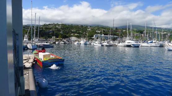Marina Taina, our neighorhood this week, from the fuel dock. The polynesians like jaunty colored boats, that are invariably well kept.
