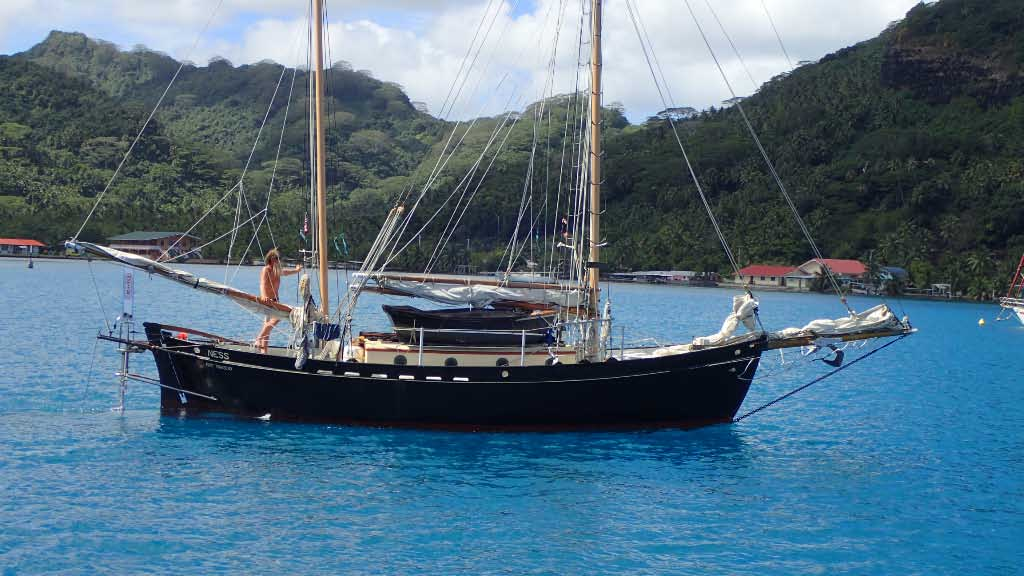 Philip heading out to Tonga on Ness, a Tahitiana 31 like Yare.