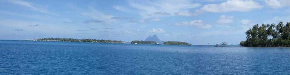 The resort on Motu TauTau with Bora Bora in the background seen from Baie Tapuamu on Taha'a.