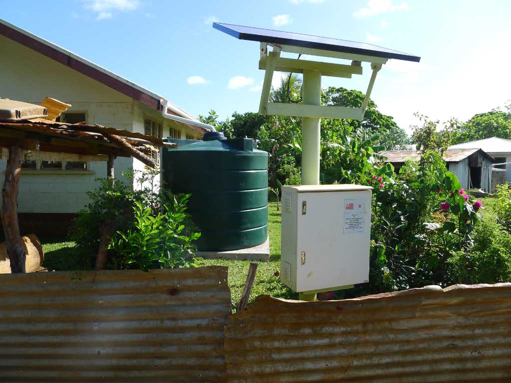 New water cistern and self-contained solar array