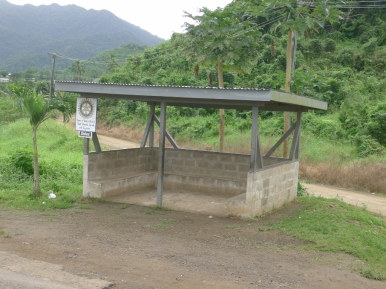 One of the bus shelters along the highway crossing to Labasa. This was a new one, recently built with funds from a Canadian Rotary Club chapter.