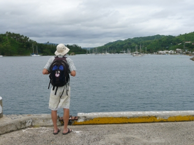 Randy on the commercial wharf. The inter-island cargo and passenger ship docks here twice each week.
